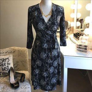 Banana Republic Black/ White Floral wrap dress
